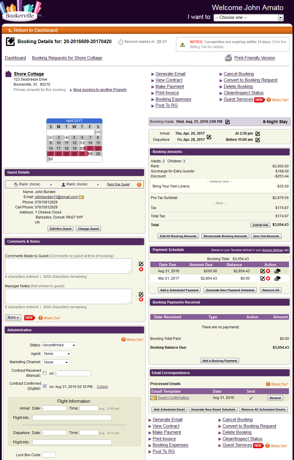 Booking details: everything you need to know about each booking, in a graphical, easy-to-use, mobile-responsive page.