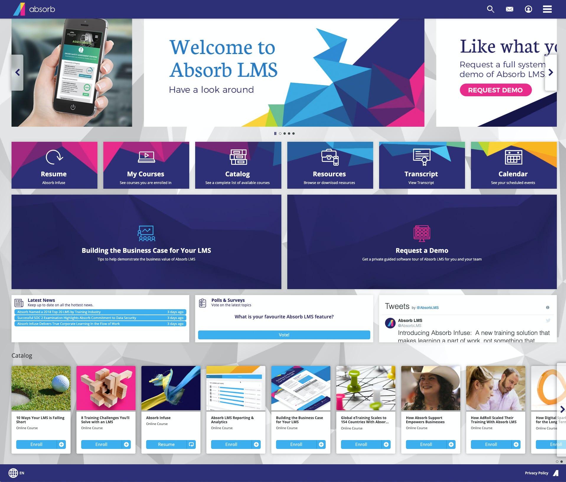 Absorb LMS Software - Custom Branded Learner Dashboard