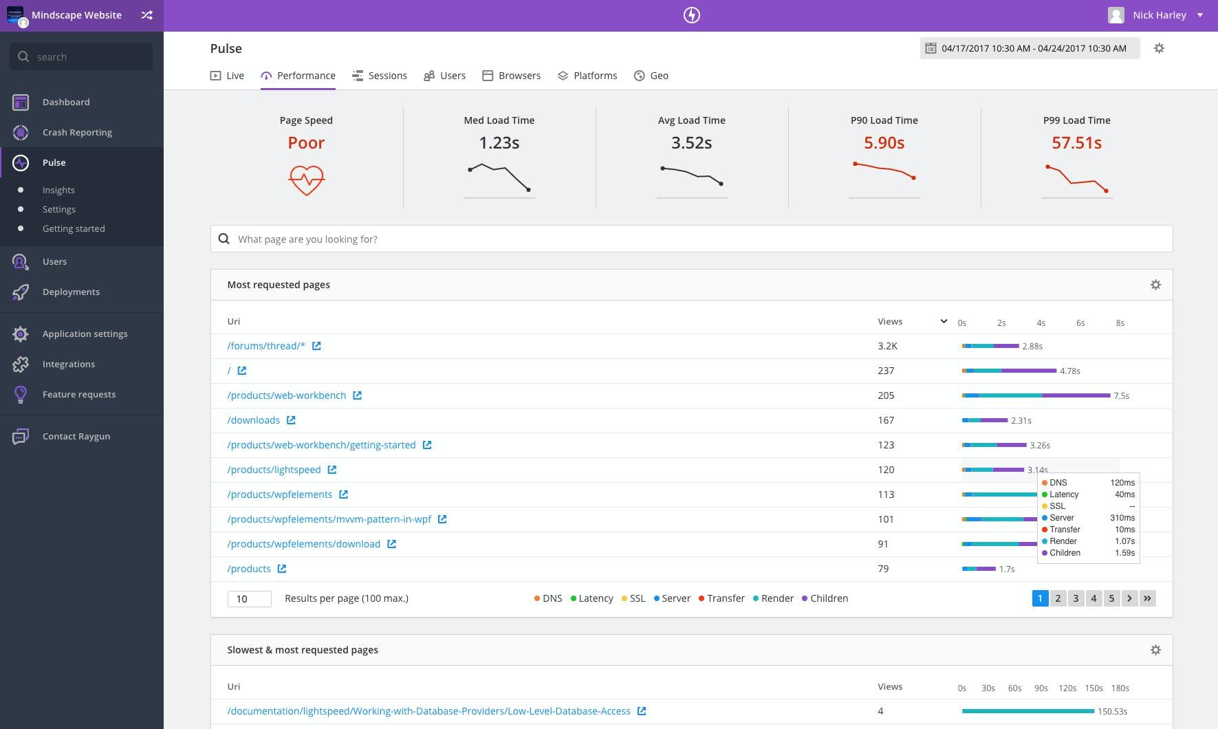 Raygun Software - Raygun performance tracking