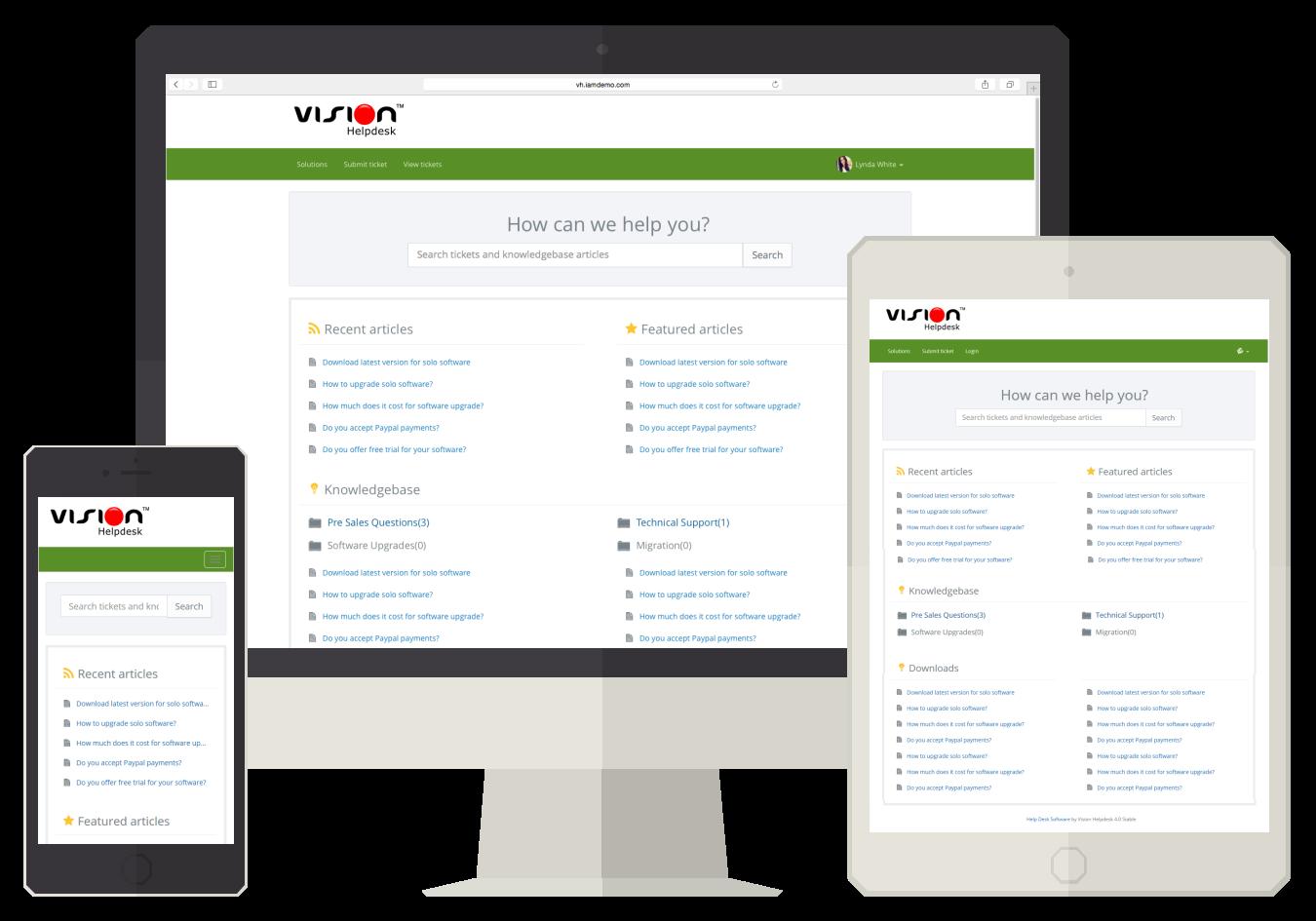 Vision Helpdesk Responsive Client Portal