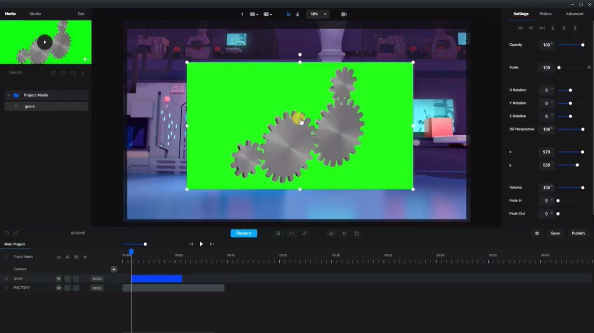 CreateStudio green screen