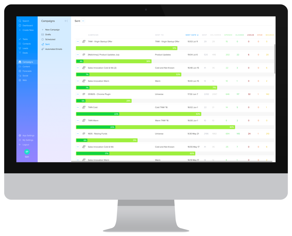 SalesSeek Software - Sent Email Campaigns