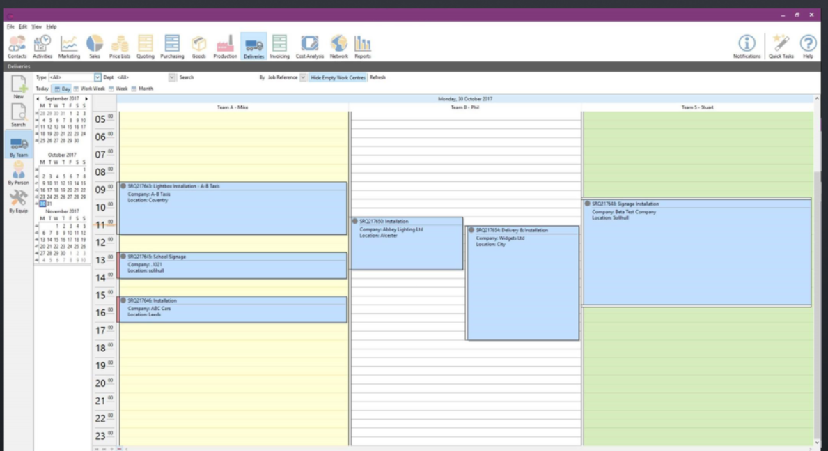 Clarity Software schedule dashboard screenshot