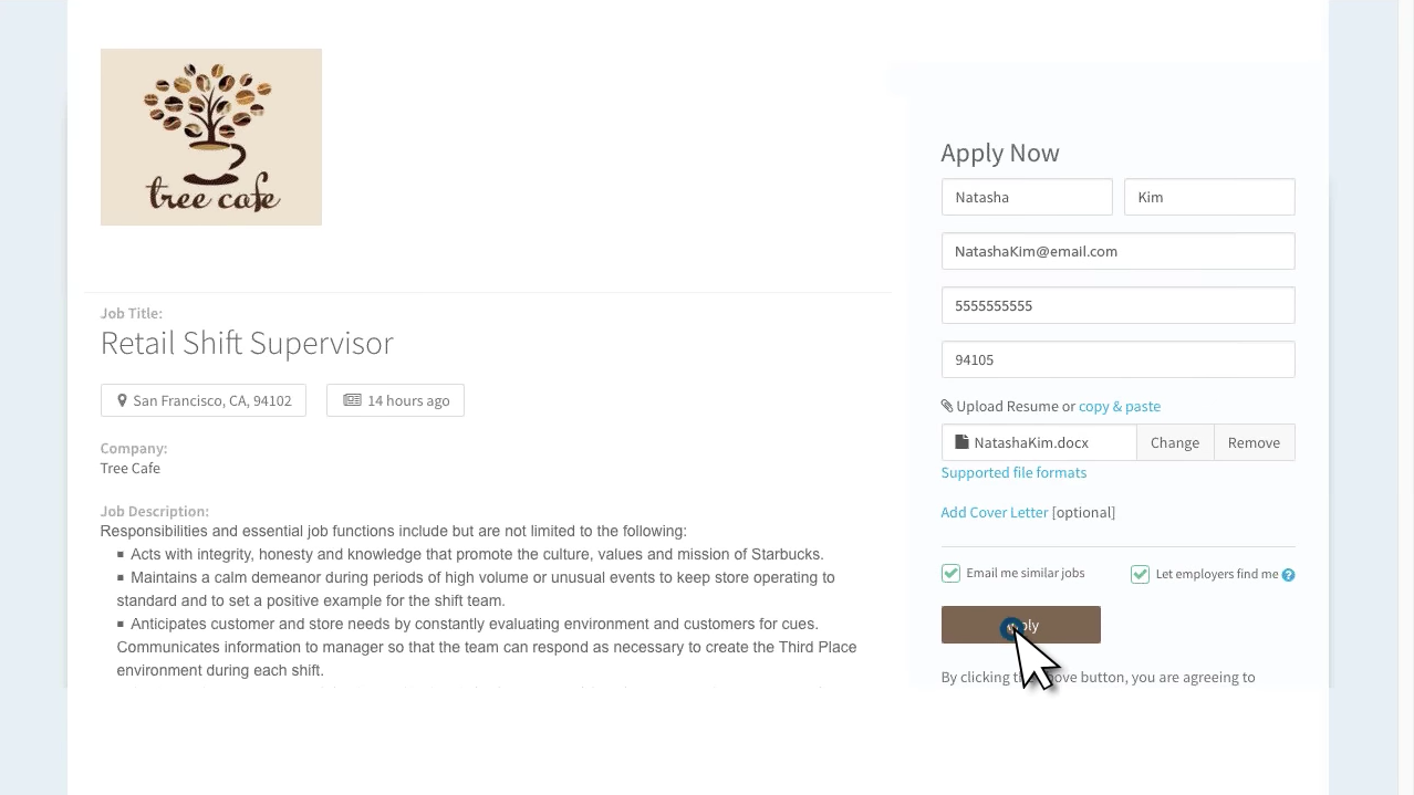 The branded job posting page enables candidates to apply in just a few clicks