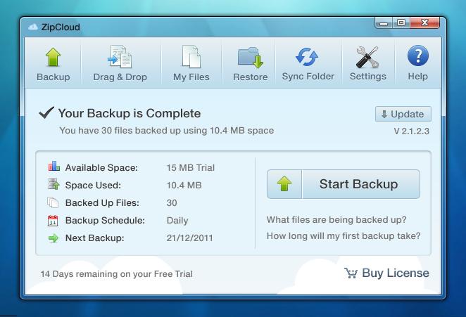 ZipCloud screenshot: Inside the App