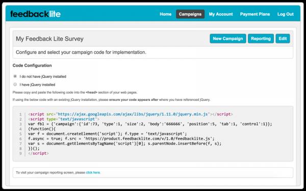 Feedback Lite survey