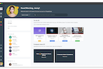 PeopleGoal screenshot: One-stop Dashboard with powerful omni-search, one-click access to all apps, configurable profile information and upcoming tasks and items.