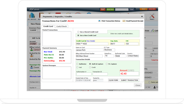 Credit card details can be stored and payments processed