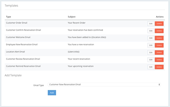 Customizable email / SMS templates are available for common queries