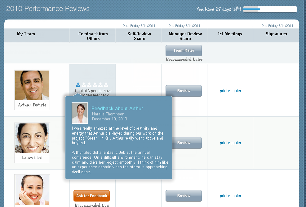 SuccessFactors team view with feedback