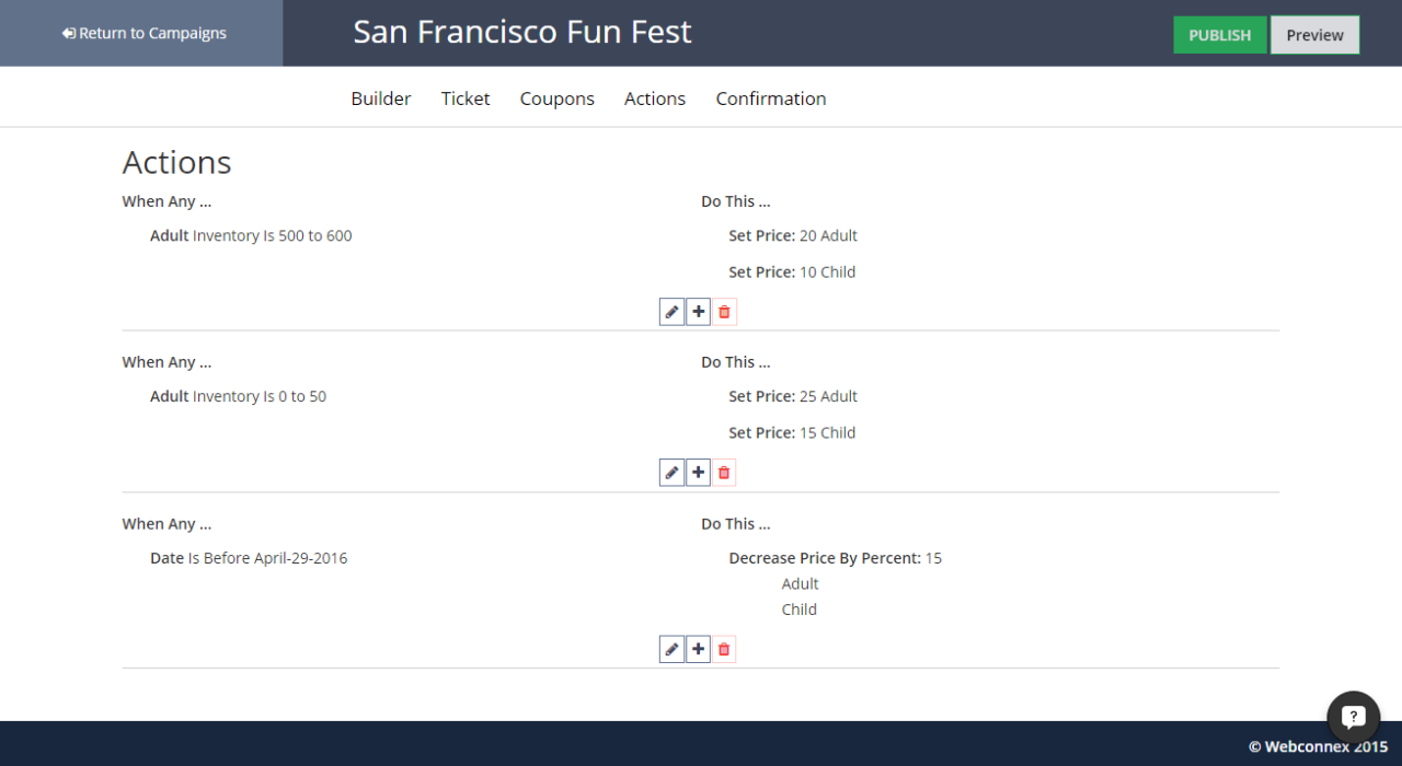 TicketSpice's actions give users control over ticket price and availability based on inventory, dates and more