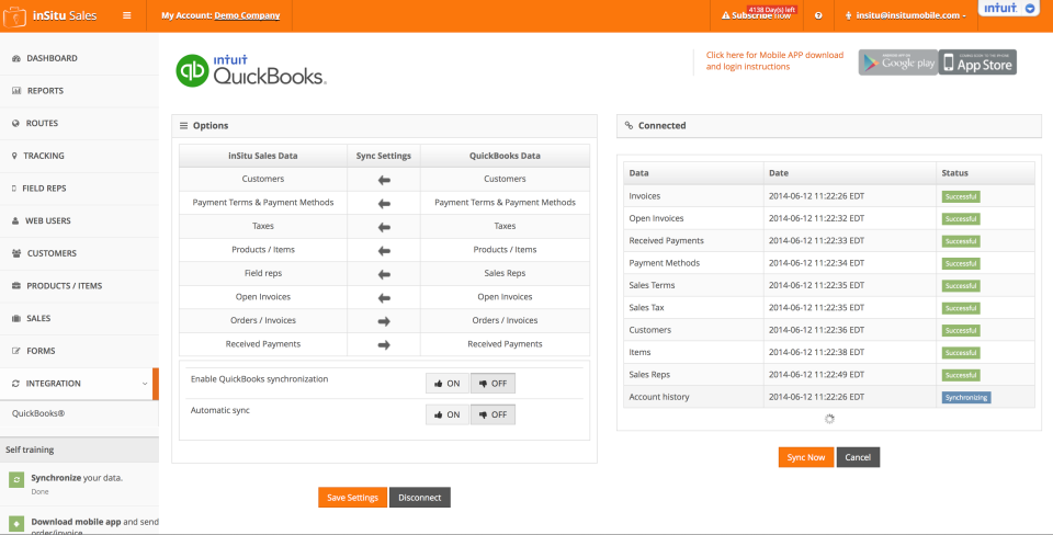 inSitu Sales: integration with QuickBooks to facilitate invoicing