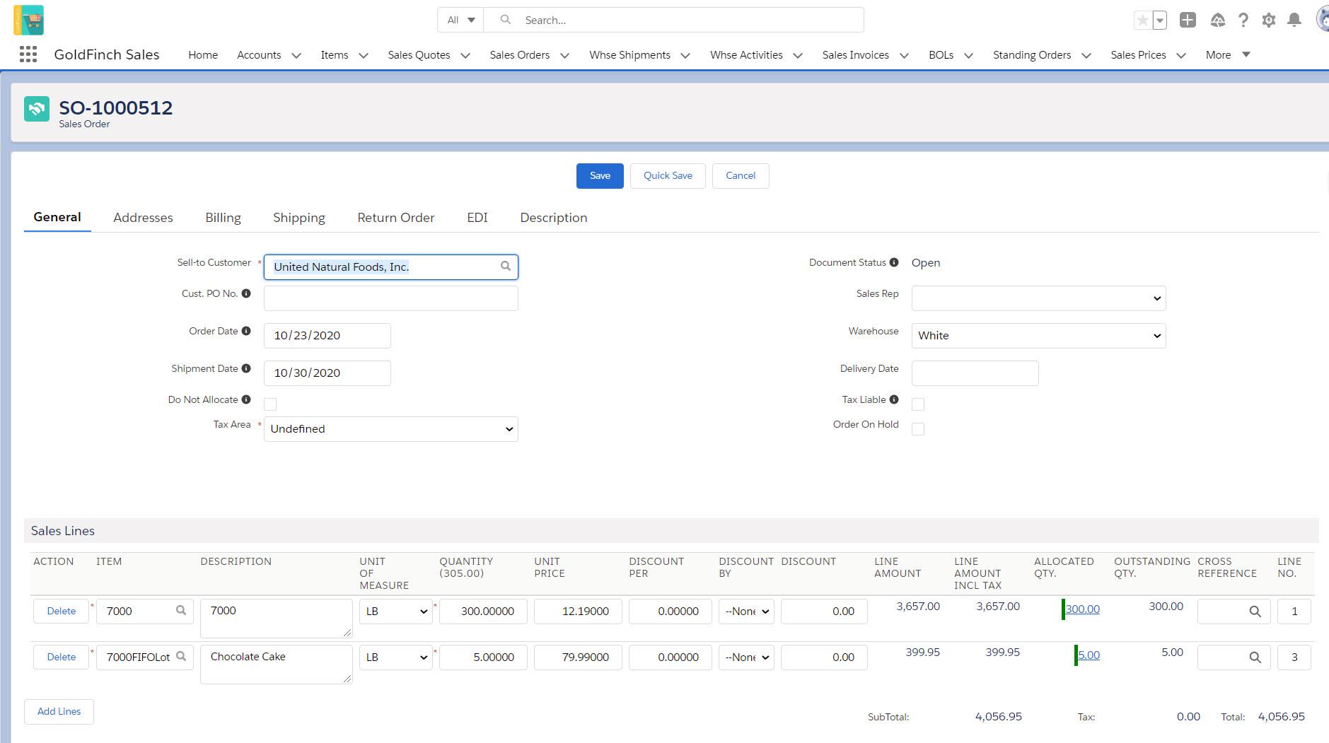 GoldFinch sales order management