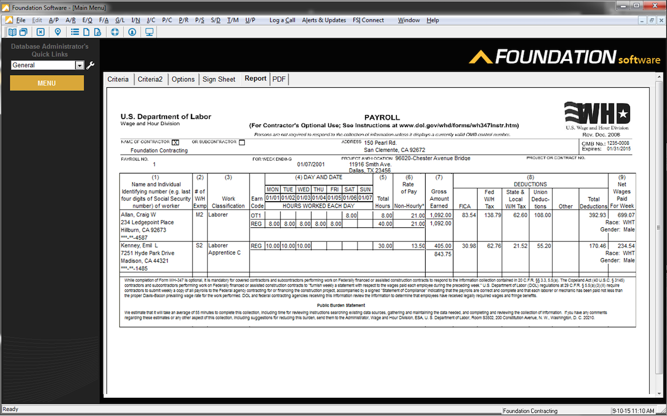 FOUNDATION Software - FOUNDATION Construction Accounting payroll report sample