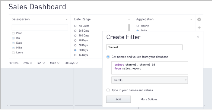 Custom filters makes it easy to immediately graph any query without hopping through multiple screens or tools