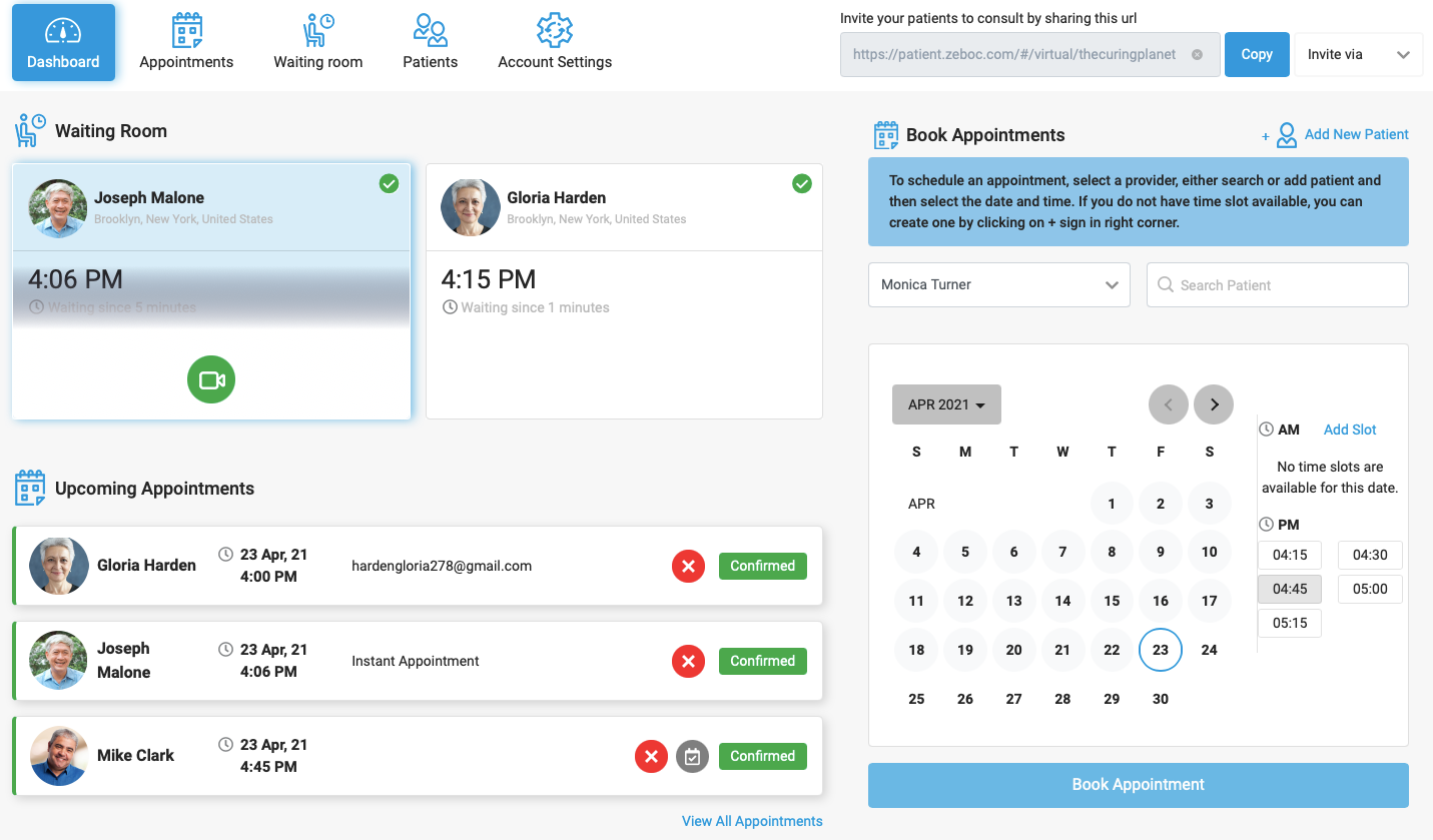 Checkout patients in your waiting room at-a-glance, book new appointments, view upcoming appointments, add patients, and more - from a single, user-friendly dashboard.