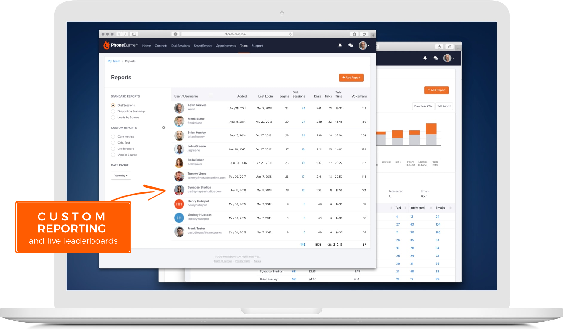 Create detailed reports to track agent and team performance using real-time and historical analytics.