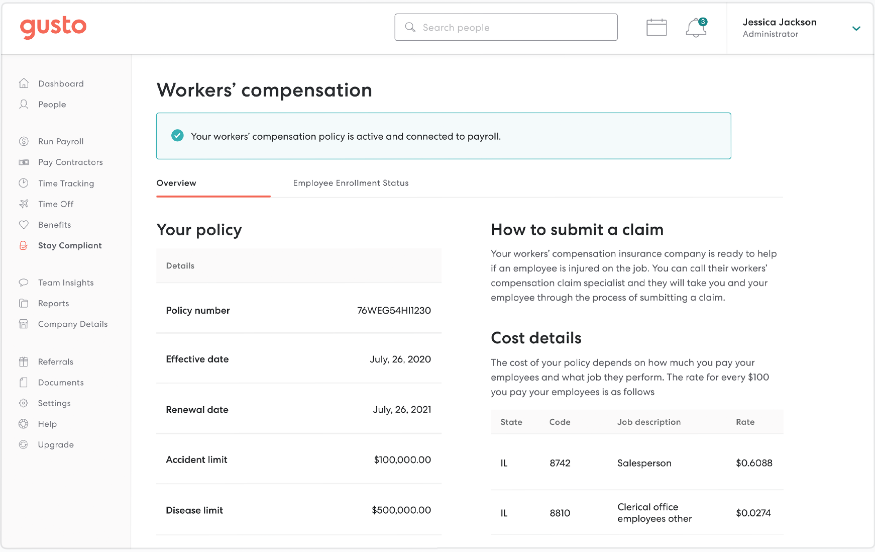 Gusto Software - Gusto workers compensation