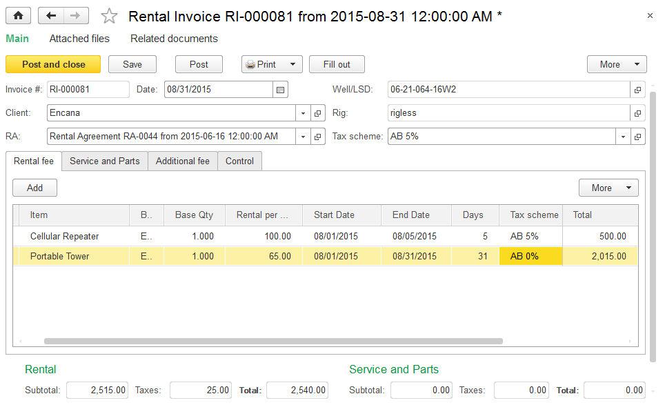 Rental invoice