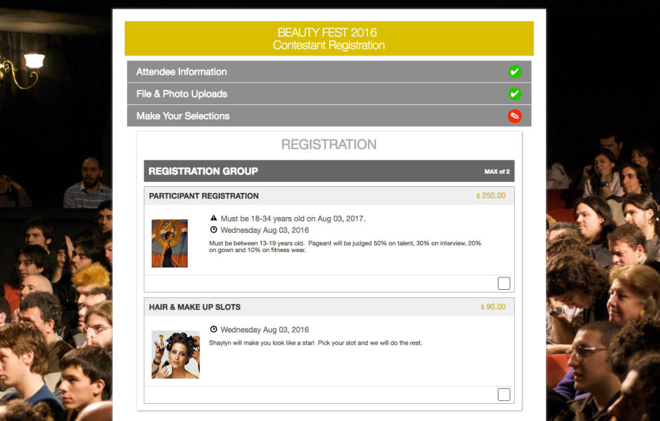 Eventsquid's flexible forms allow for single, bulk, guest, minor and third-party registrations