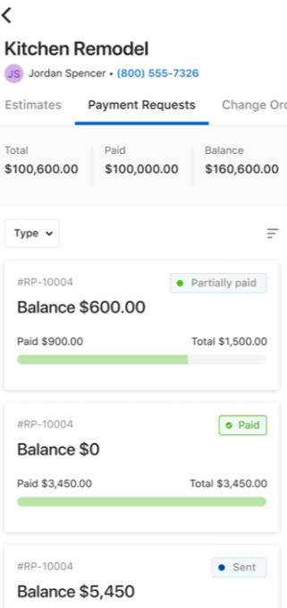 Houzz Pro payment requests