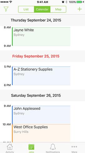 ServiceM8 Software - Mobile calendar