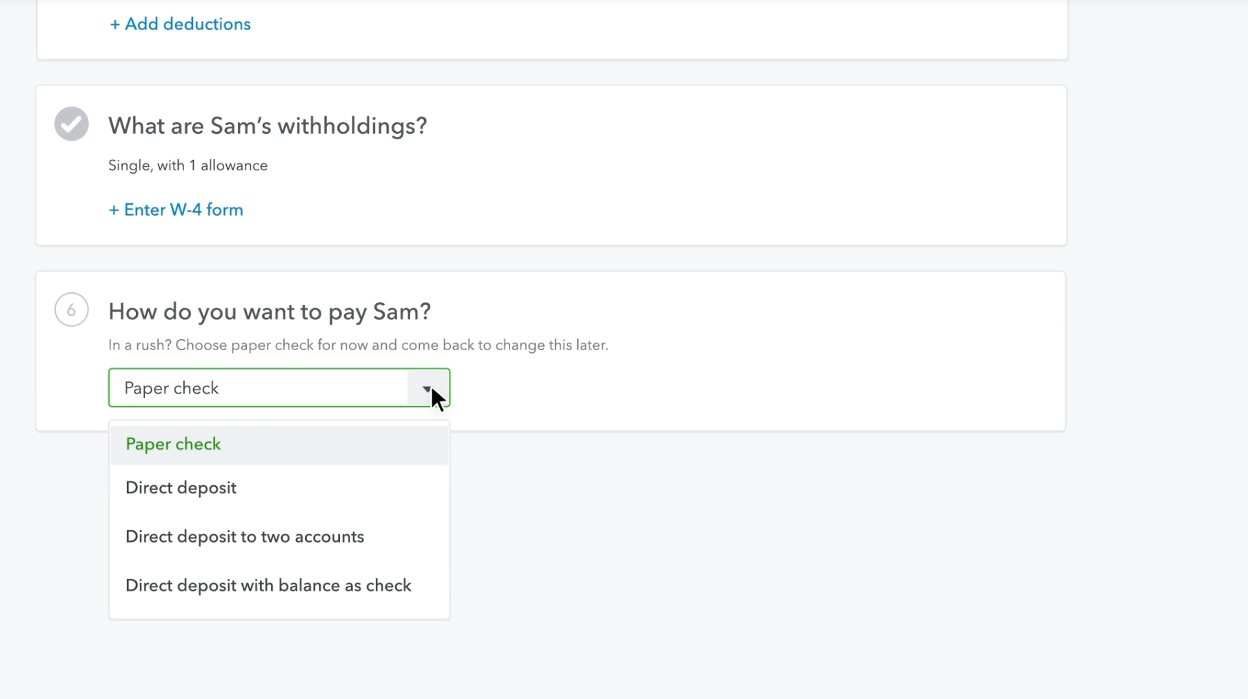 QuickBooks Payroll screenshot: Multiple payment options are supported by QuickBooks Payroll