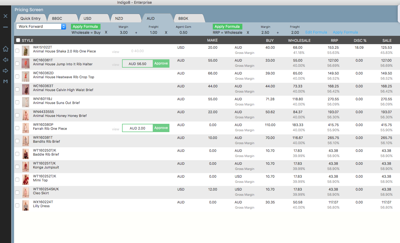 Within Indigo8 users are able to manage and approve prices of individual products
