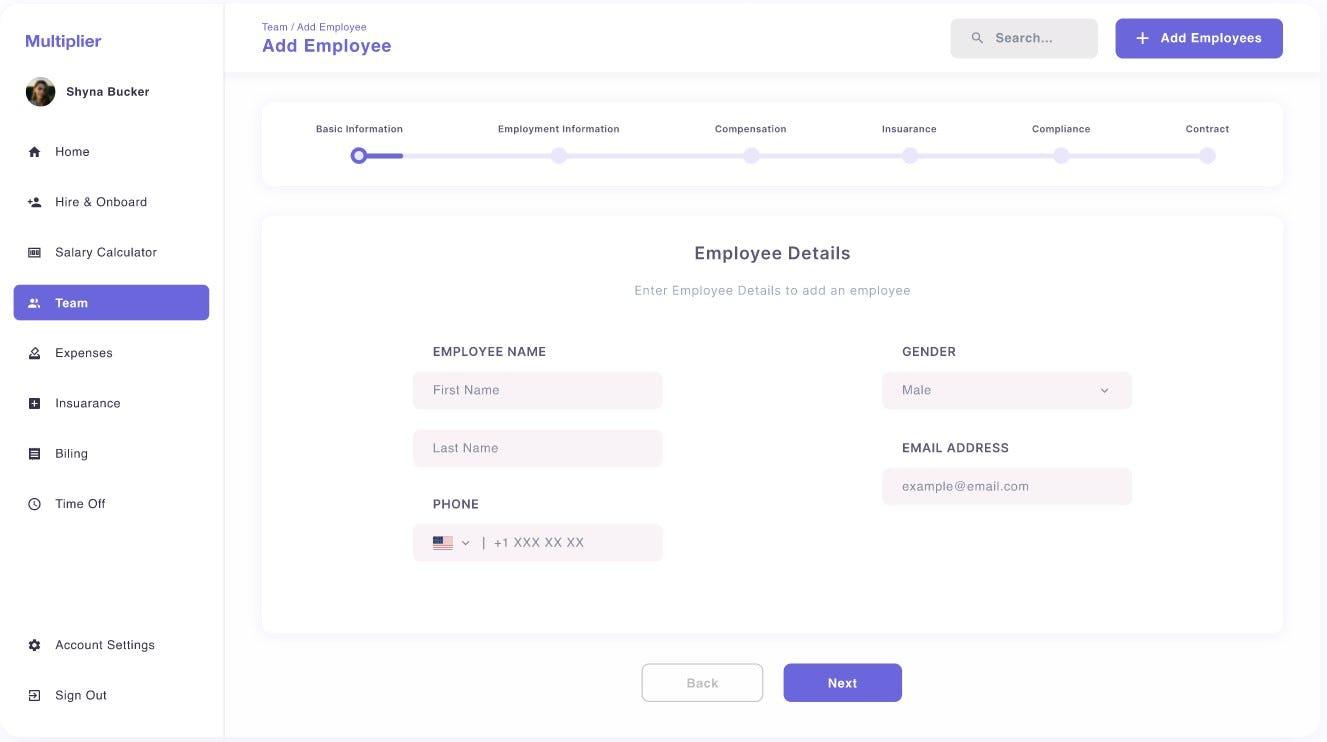 Multiplier Software - Employee Onboarding