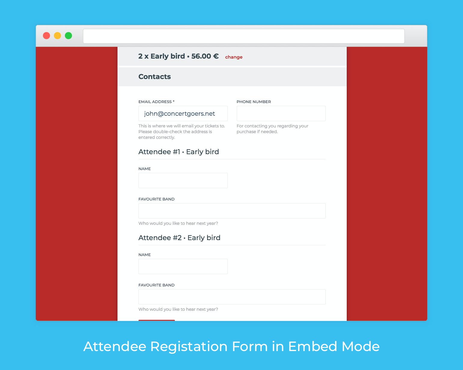 Create various attendee registration forms