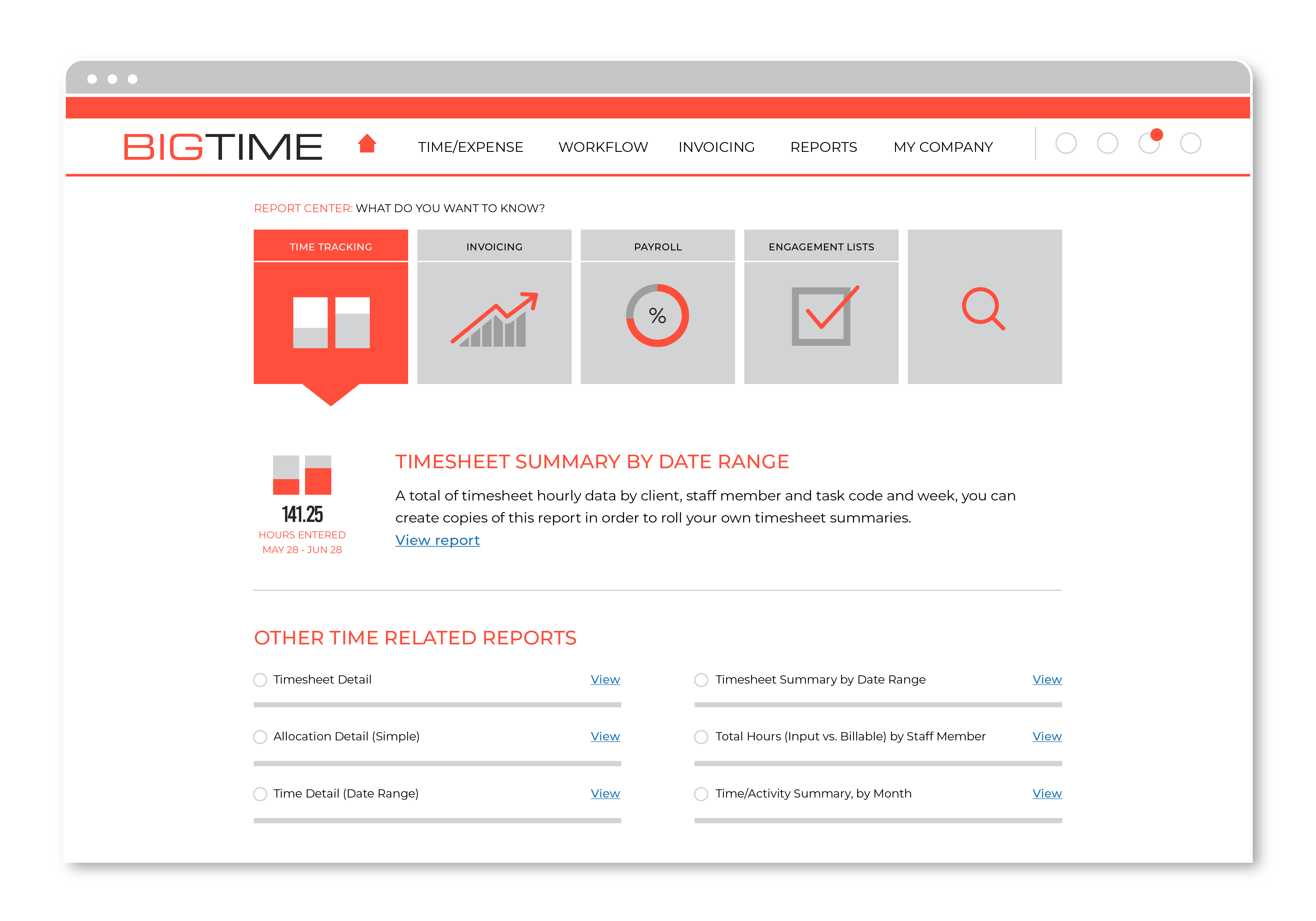View detailed reports with BigTime