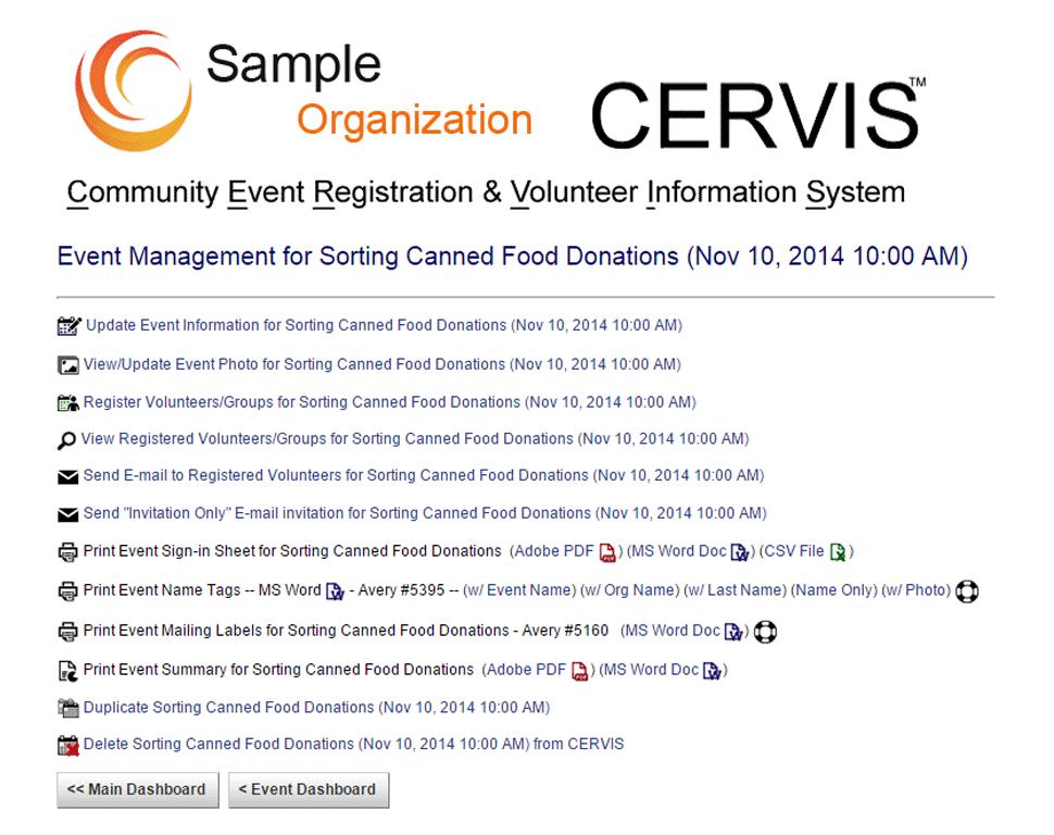 CERVIS Software - Event management