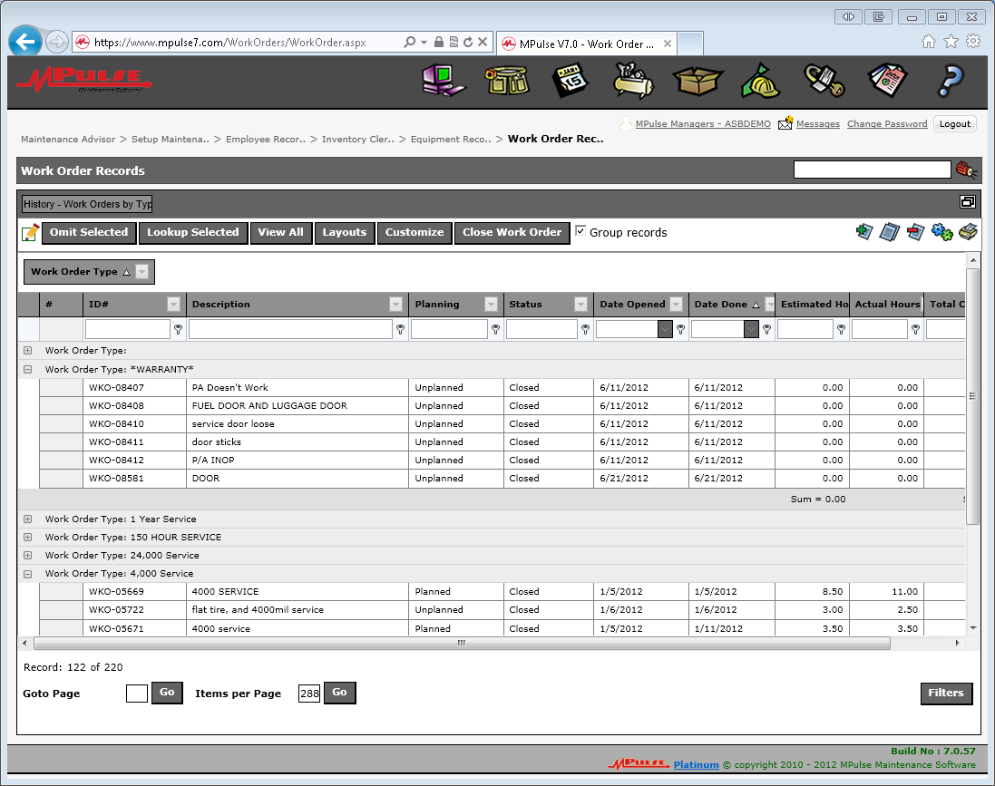 MPulse Software - Work order records