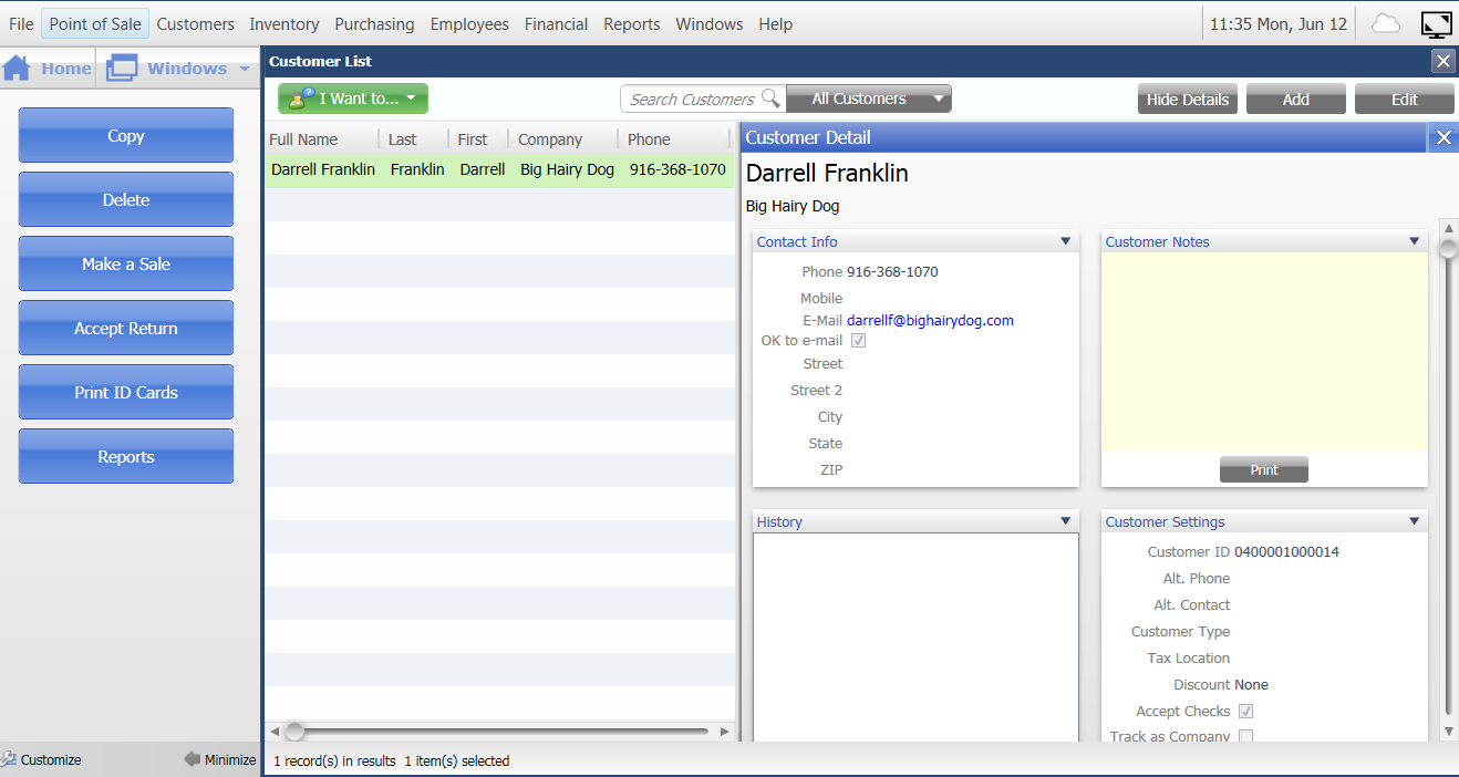 Quickbooks Point of Sale Software - Customer information