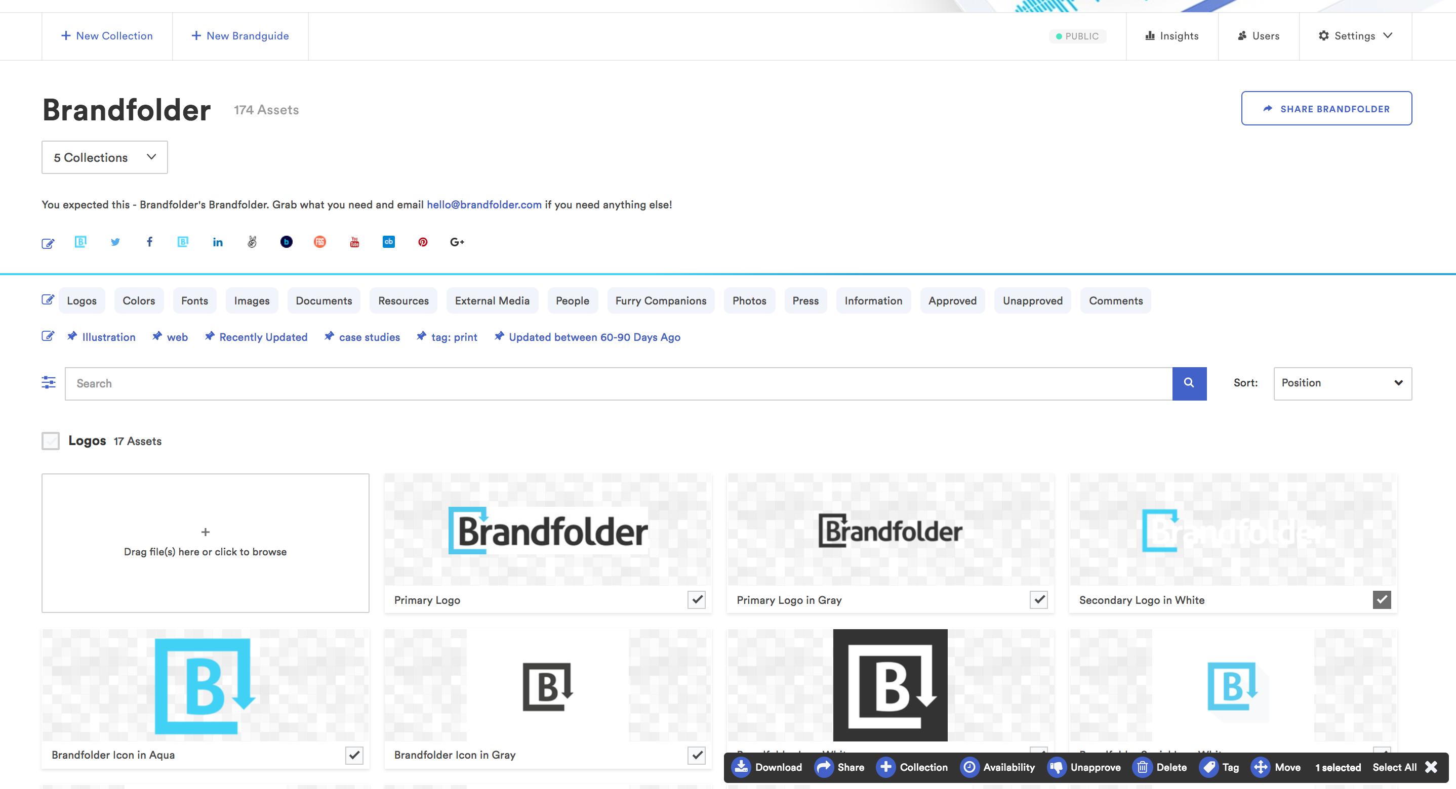 Brandfolder Software - Bulk actions