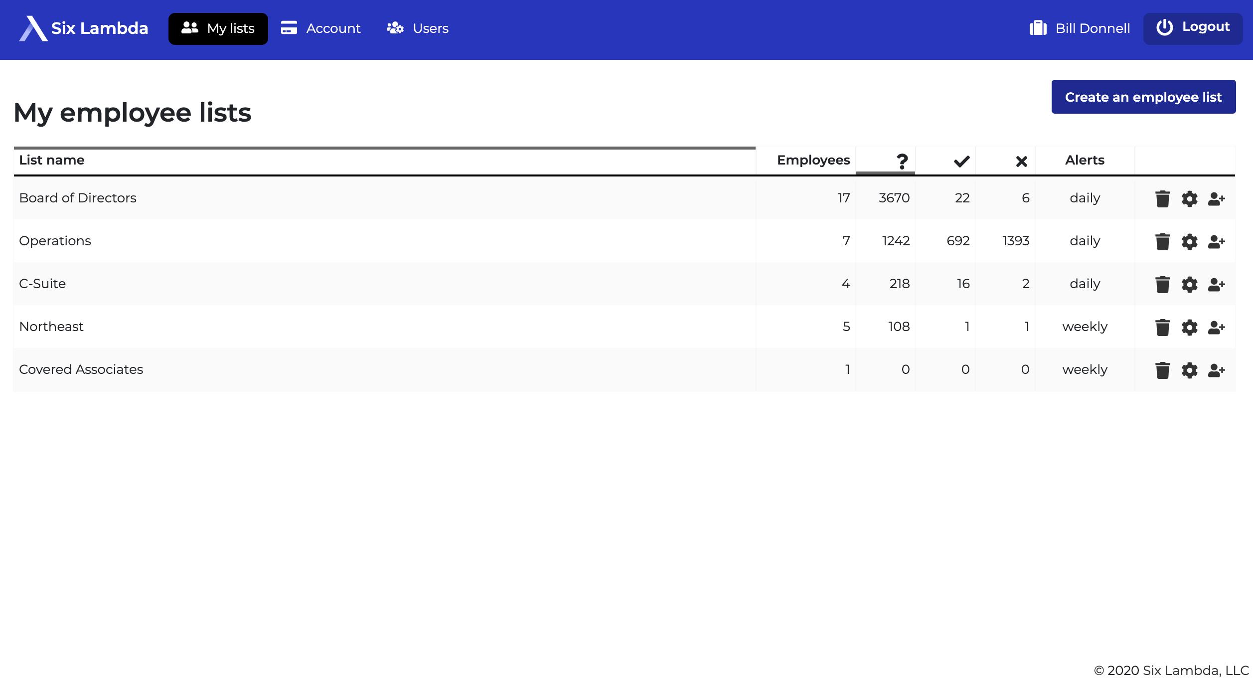 Six Lambda Software - Six Lambda employee list screenshot