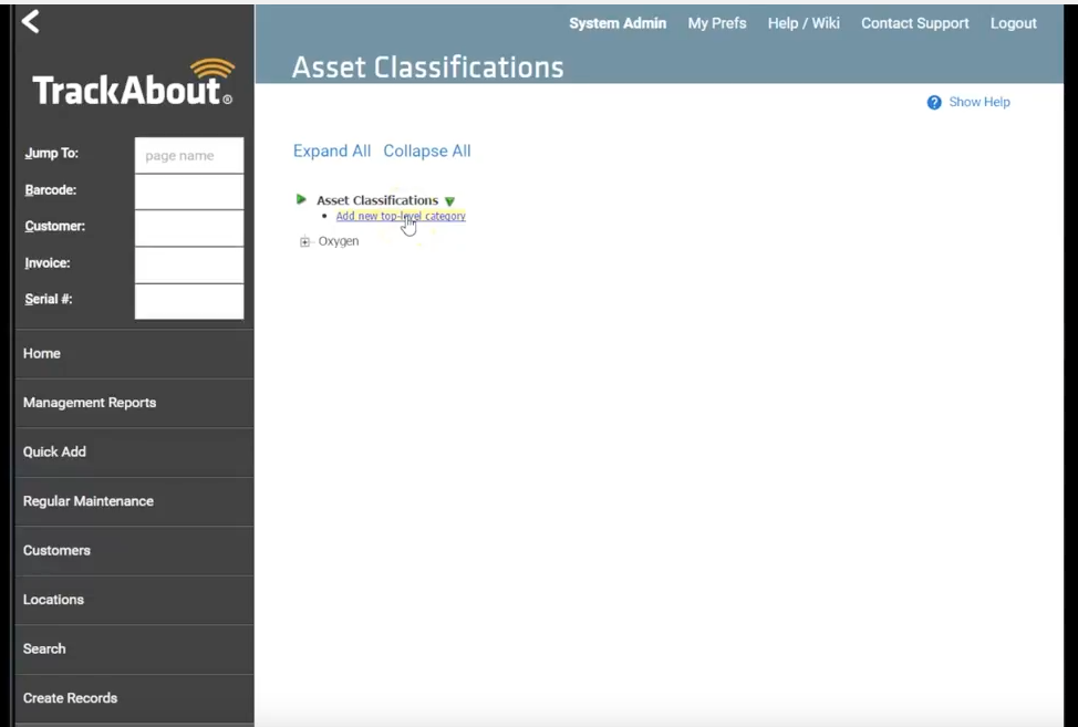 Manage asset classifications