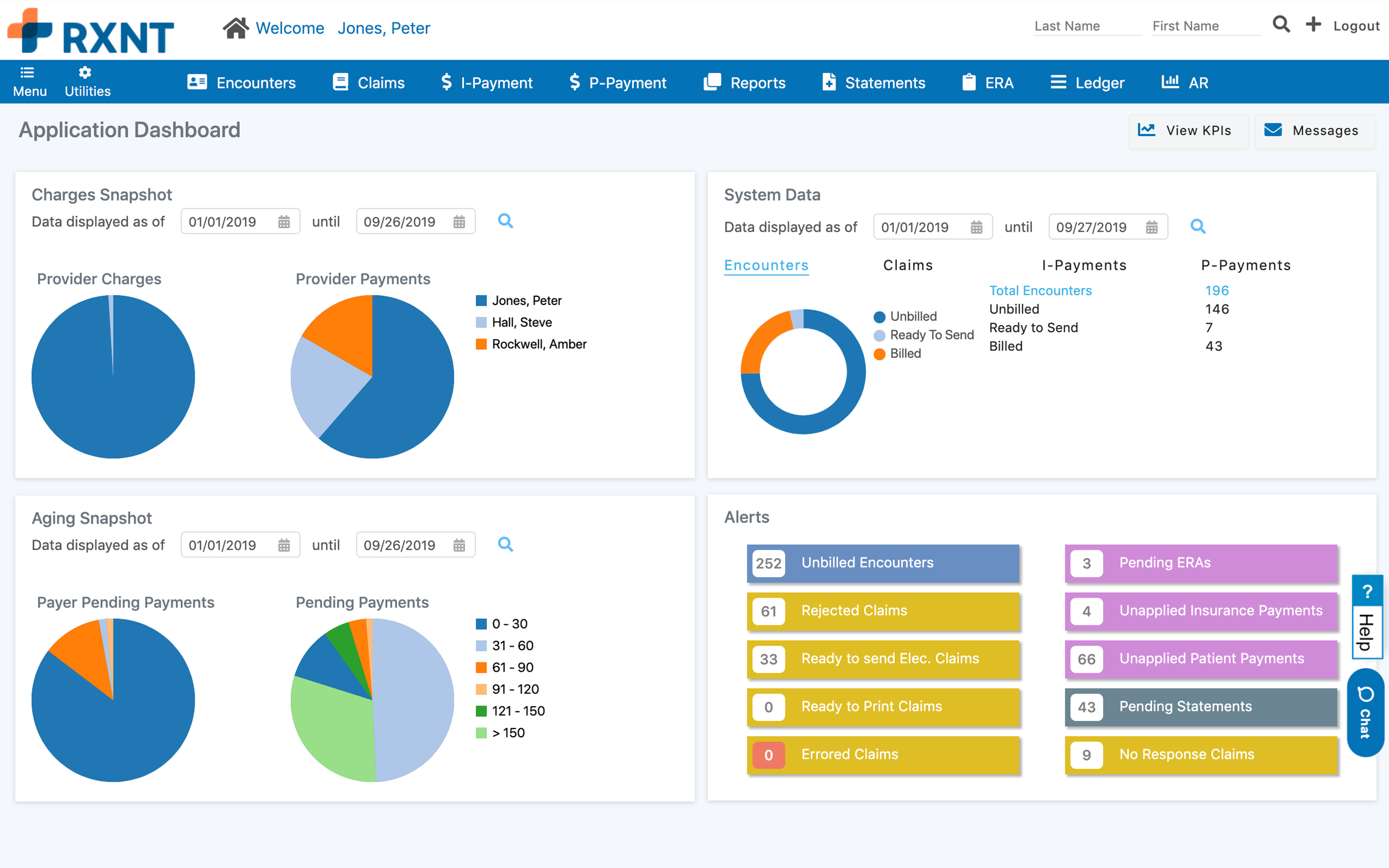 RXNT Practice Management – Medical Billing Dashboard. See charges, aging, alerts, and system data.