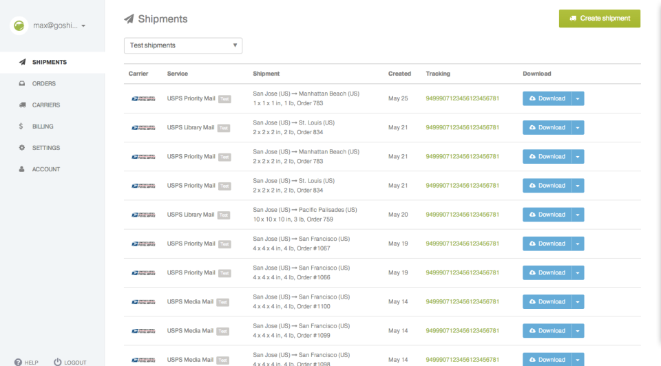 Shippo screenshot: Fulfill all orders and track all shipments