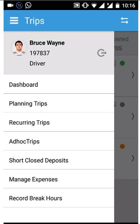 Ramco Logistics Software mobile application screenshot