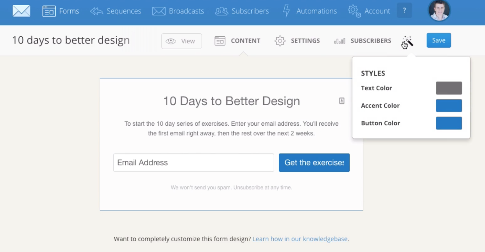 Users can customize the design of their forms in ConvertKit