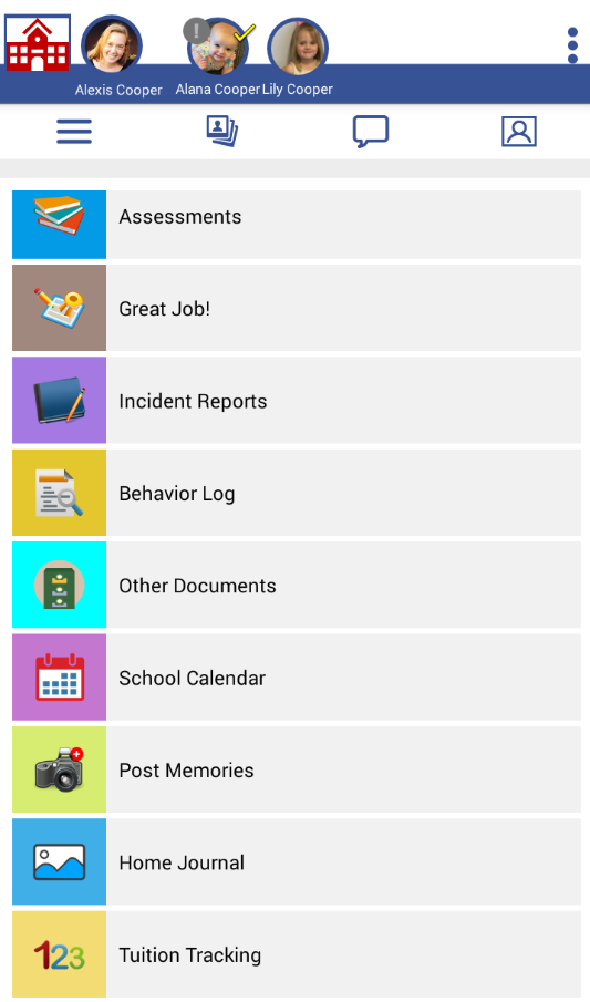 LifeCubby Family App Menu