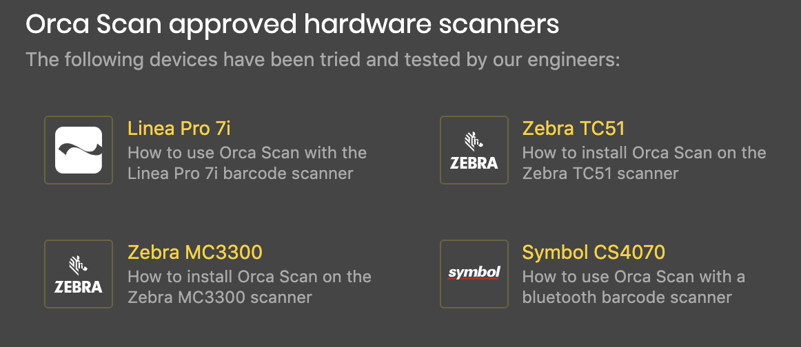 Orca Scan Approved hardware scanners