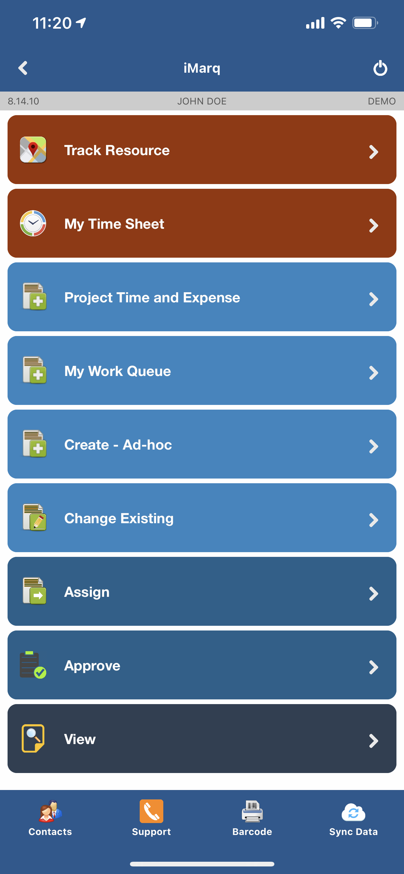 All modules - view; profile driven app ensures that only the relevant modules are available to the user.