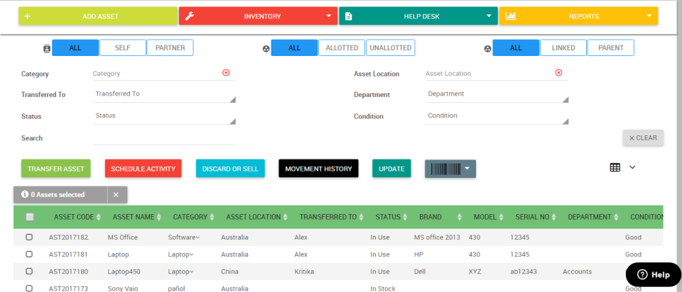 Asset Infinity screenshot: Home Screen