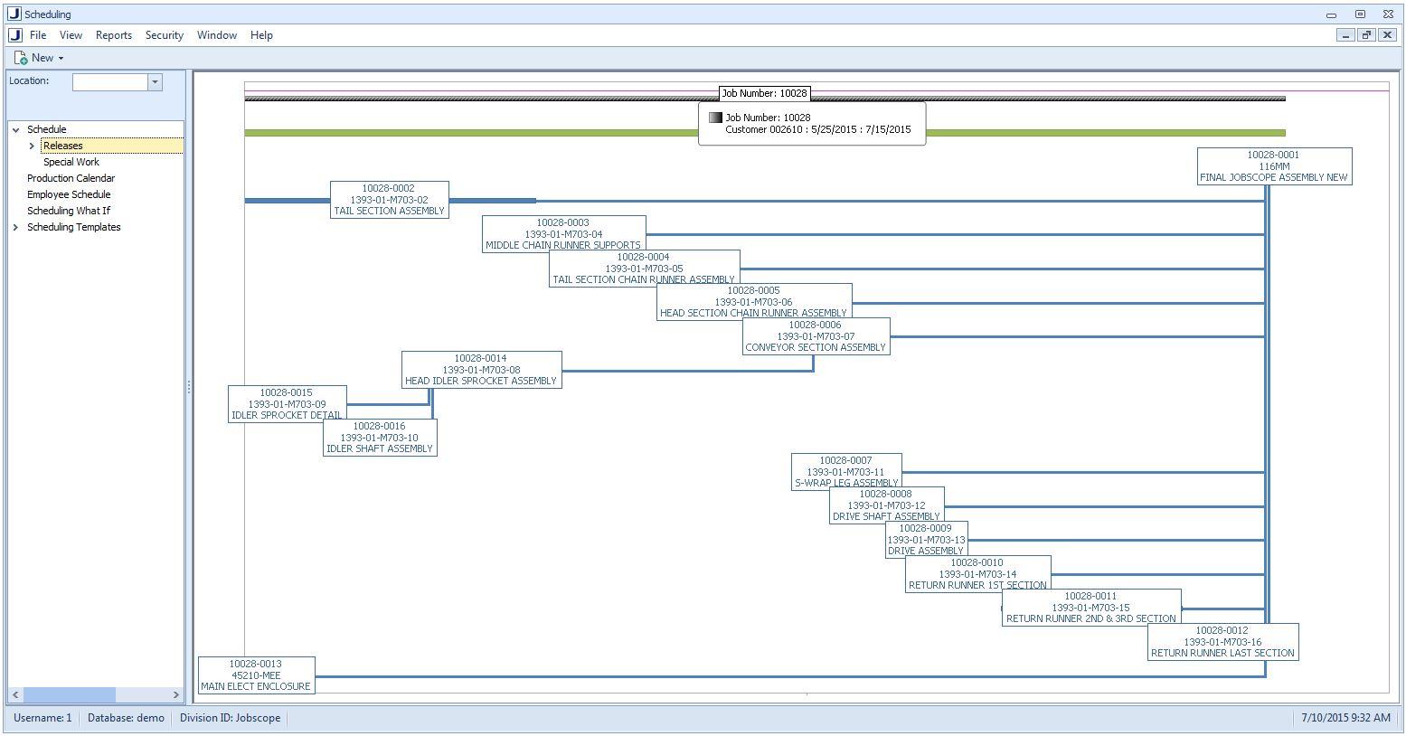 Scheduling Gantt Chart view
