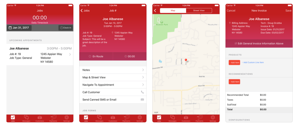 The Payzerware companion mobile app is available for iOS and Android devices to give technicians native connectivity from job locations out in the field