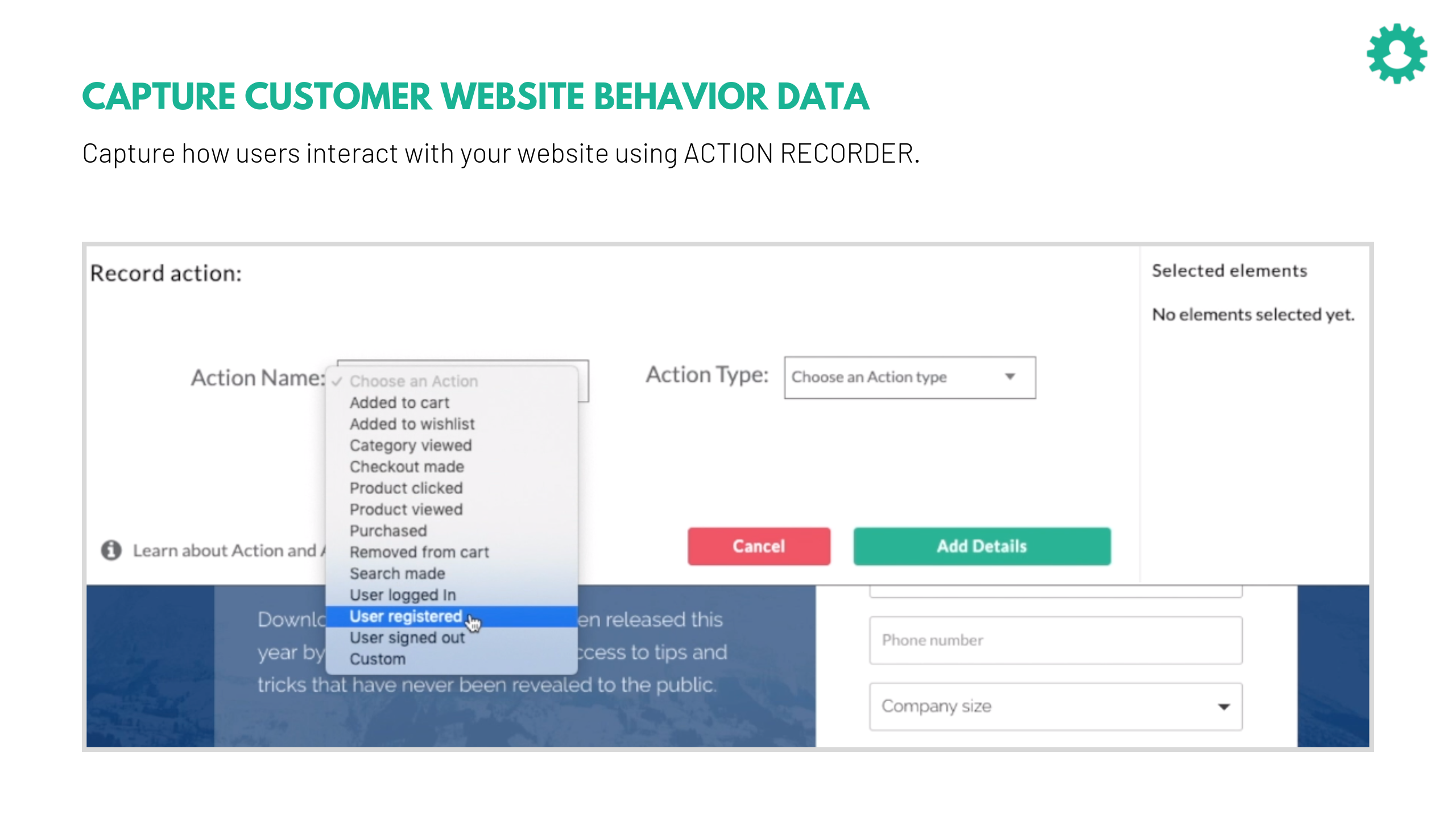 CustomerLabs CDP screenshot: Capture website visitor behavior using Action Recorder