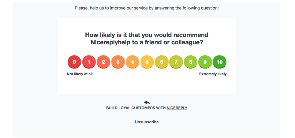 Nicereply rating scale survey