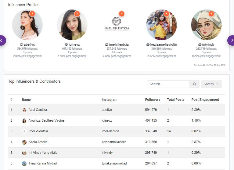 Analisa.io top influencer profiles